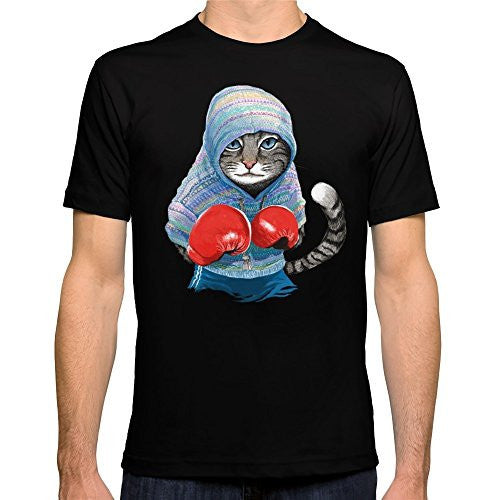 Blue Boxing Cat Men's T-Shirt