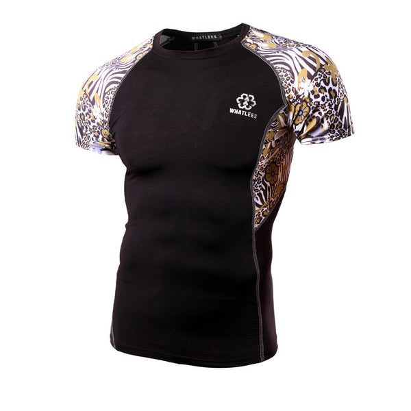 WHATLEES Premium Short-Sleeve Rash Guard - Cheetah