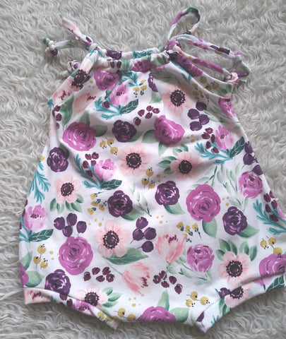 Plum floral sunsuit romper! Soft and strechy!