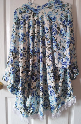 Blue floral mama kimono! Soft and stretchy!
