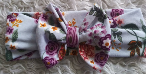 Bird floral buttery soft brushed knit bowband!