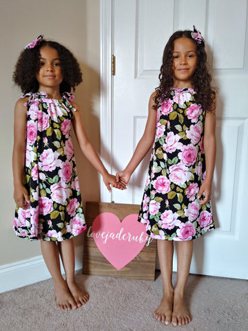 Black floral sun dress! Sizing up to 10Y!