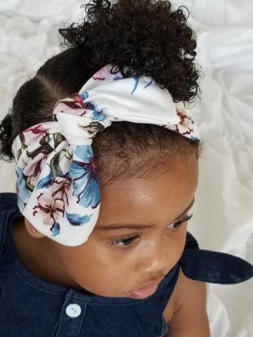 Ivory floral topknot headband! Soft and comfy, fits newborn through adult!