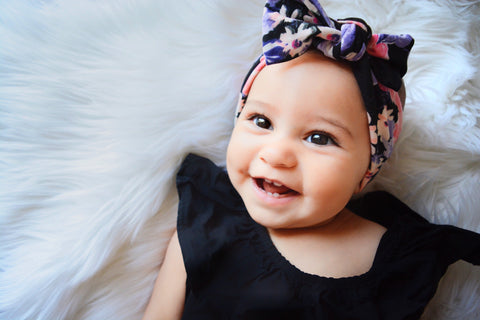 Bright black floral topknot headband! Soft and comfy, fits newborn through adult!