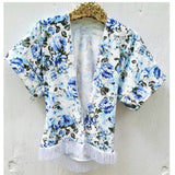 Blue floral kimono! Buttery soft!