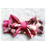 Fuschia floral bowband! Soft and stretchy!