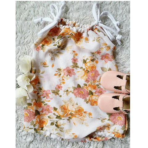 Peach and mauve floral sunsuit suit romper! Lightweight woven cotton!