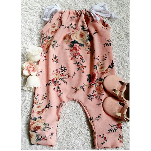 Blush cranberry floral jump suit romper! Super lightweight and flowy!