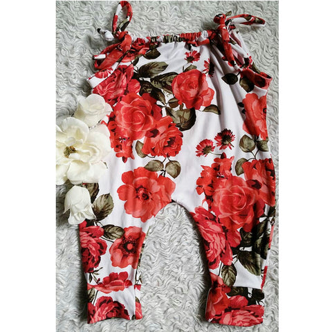 Red floral jump suit romper! Buttery soft!