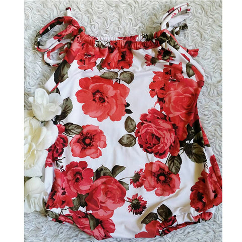 Red floral sunsuit suit romper! Buttery soft!