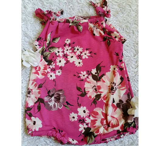 Fuchsia floral sunsuit suit romper! Super soft and stretchy!