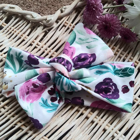 Plum floral topknot headband! Soft and comfy, fits newborn through adult!