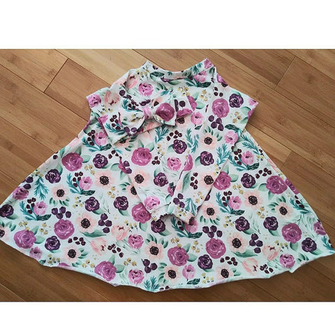 Plum floral long sleeve swing dress! Sizing up to 10Y!