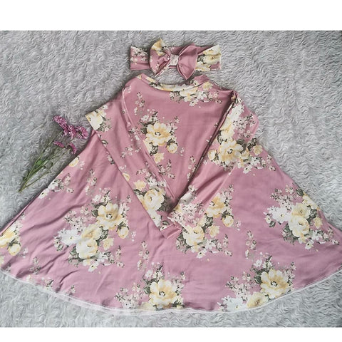 Mauve and pale yellow floral long sleeve swing dress! Sizing up to 10Y!