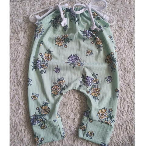 Mint floral rib knit jump suit romper! Soft and stretchy!