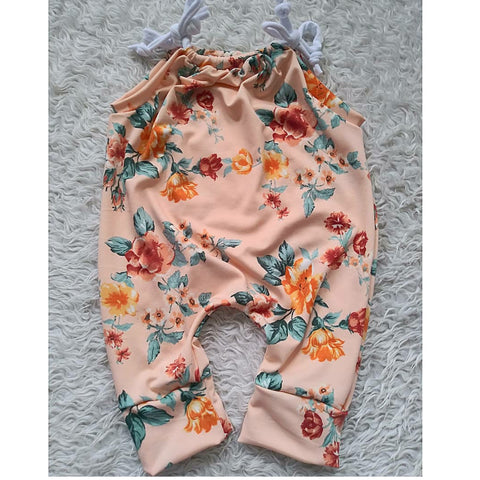 Peach floral jump suit romper! Soft and stretchy!
