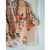 Peach floral kimono! Soft and stretchy!