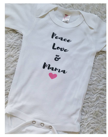 Peace love and mama pink heart  onesie READY TO SHIP!
