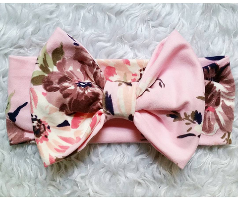 Baby pink floral bowband! Buttery soft!