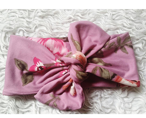 Purple and raspberry floral topknot headband! Soft and comfy, fits newborn through adult!