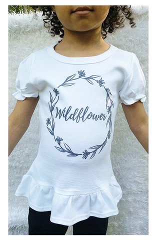 Wildflower ruffle tee shirt! Sizing 2T-5T