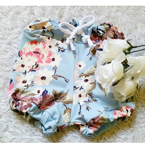 Baby blue floral bloomers! Buttery soft!