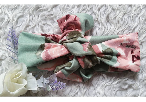 Sage and dusty rose floral topknot headband! Soft and comfy, fits newborn through adult!