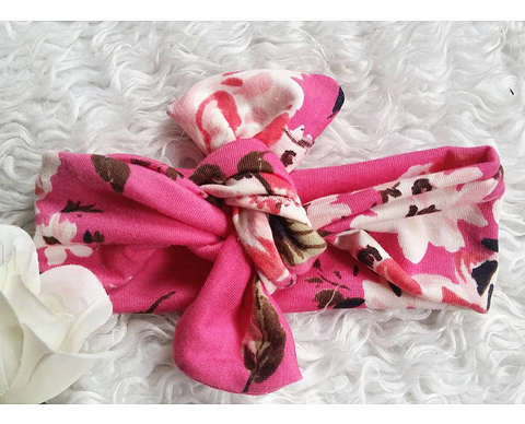 Fuschia floral topknot headband! Soft and comfy, fits newborn through adult!
