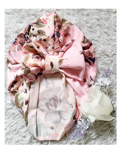Baby pink floral bow turban hat