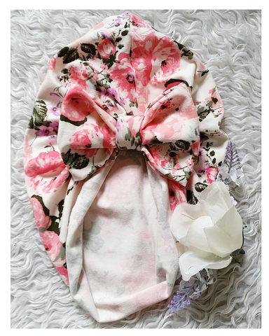 Pink floral bow turban hat