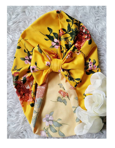 Bight mustard floral bow turban hat