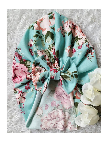 Mint and magenta floral bow turban hat