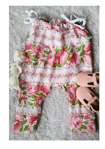 Bright pink floral jump suit romper! Upcycled and limited edition! 100% cotton!