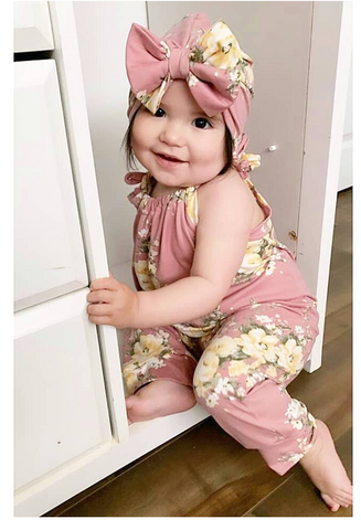 Mauve and pale yellow floral jump suit romper! Buttery soft!