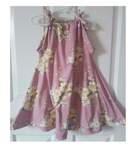 Mauve and pale yellow floral sun dress! Sizing up to 10Y!