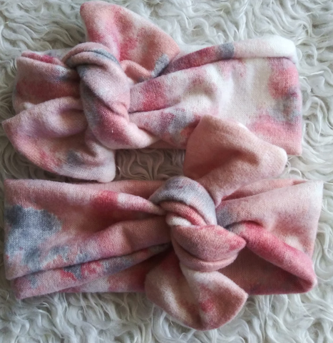 Pink tie dye brushed topknot headband! Soft and comfy, fits newborn through adult!