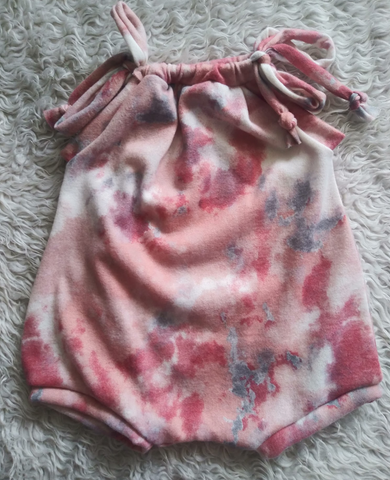Pink brushed tiedye sunsuit romper! Soft and stretchy!