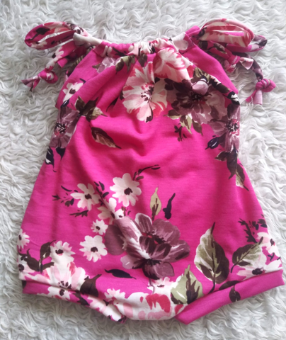 Fuschia floral sunsuit romper! Soft and stretchy!