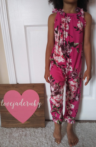 Fuchsia floral jump suit romper! Super soft and stretchy!