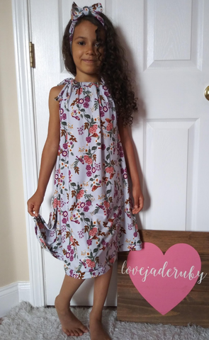 Bird floral sun dress! Sizing up to 10Y!