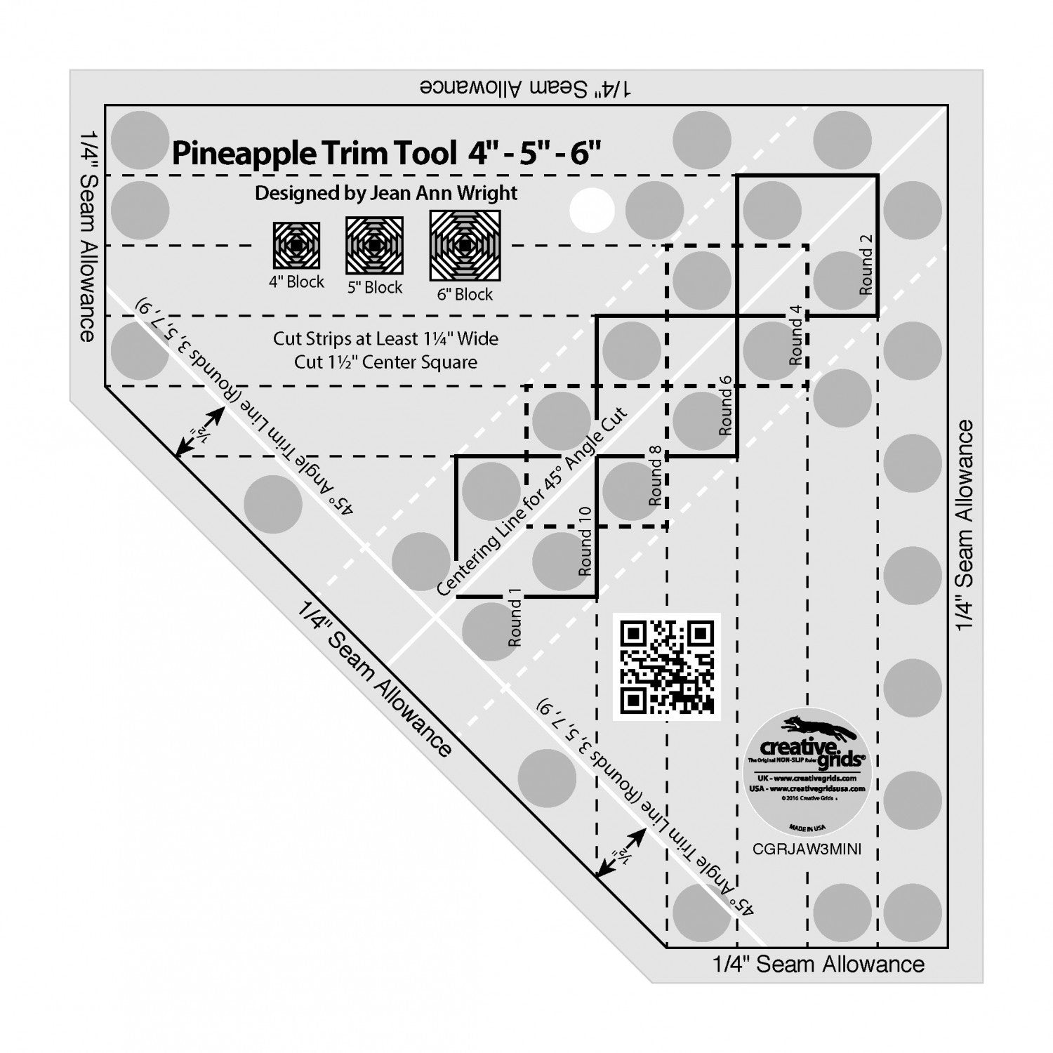 Creative Grids Quilt Ruler - Mini Pineapple, CGRJAW3MINI