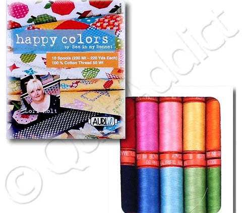 Aurifil  - 10 Spools - Happy Colors Collection by Lori Holt