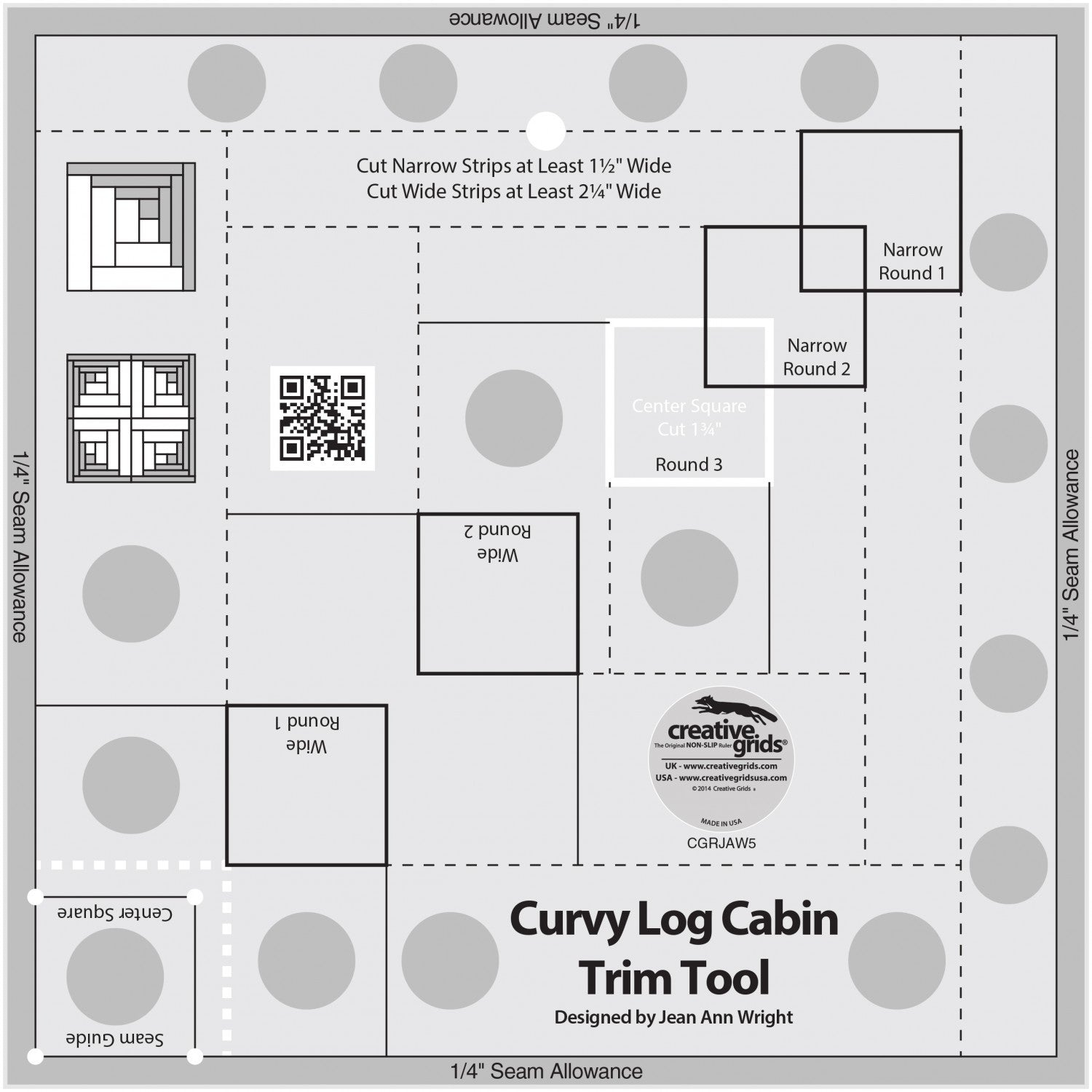 "Creative Grids Quilt Ruler - 8"" Finished Curvy Log Cabin, CGRJAW5"
