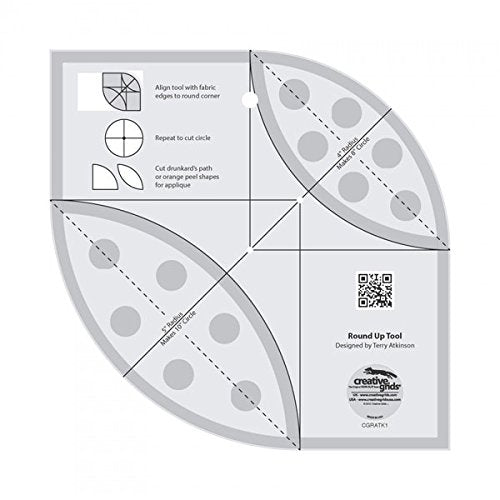 Creative Grids Round Up Tool for Quilting Rounded Corners Template Ruler CGRATK1