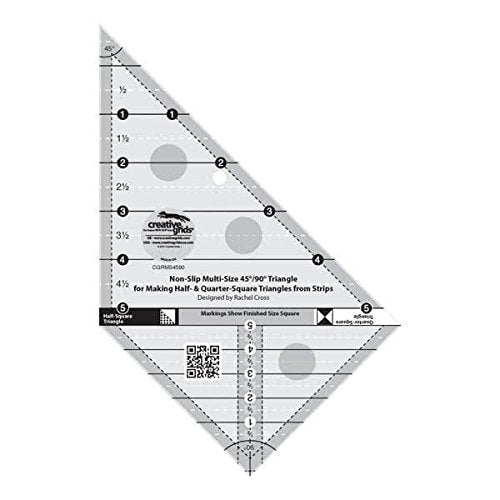 Creative Grids 45 Degree and 90 Degree Triangle Quilting Ruler Template CGRMS4590