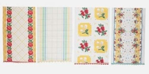 Fresh Fruit in Yellow Vintage Style Kitchen Towels Set of 4 for Moda Home