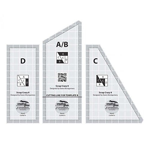 "Scrap Crazy 8"" Finished Block - Set of 3 Quilting Ruler Templates Creative Grids"