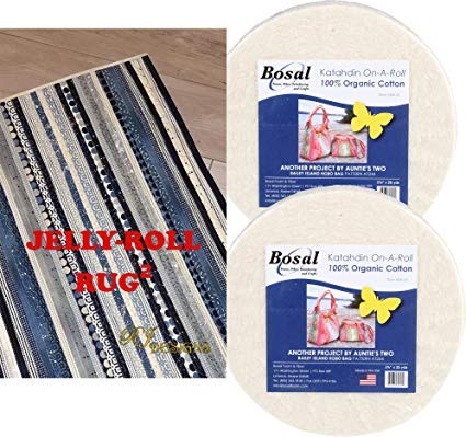 Jelly Roll Rug 2 Squared Bundle, Including Pattern and  2 Rolls of Bosal Batting