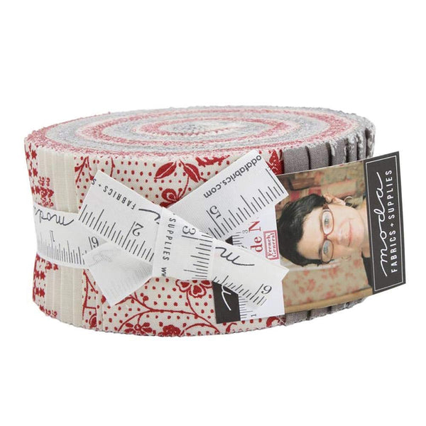 Fleur de Noel Jelly Roll by French General; 40 2.5-inch Strips Moda Fabrics