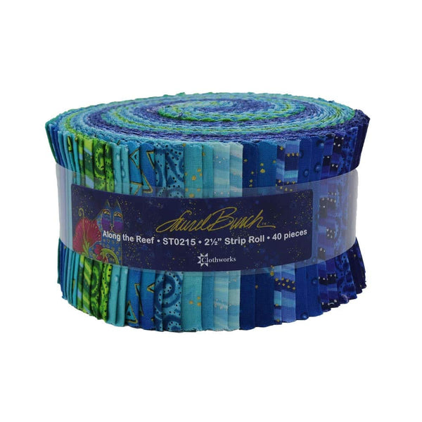 Basics: Along The Reef by Laurel Burch; 40 2.5 inch Strips - Clothworks